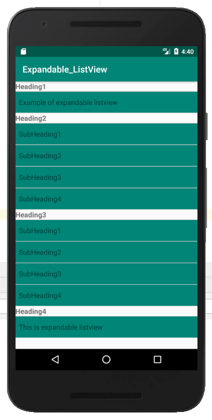 List view in android screenshot 3