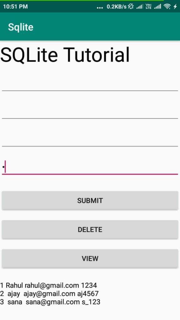Delete record sqlite database