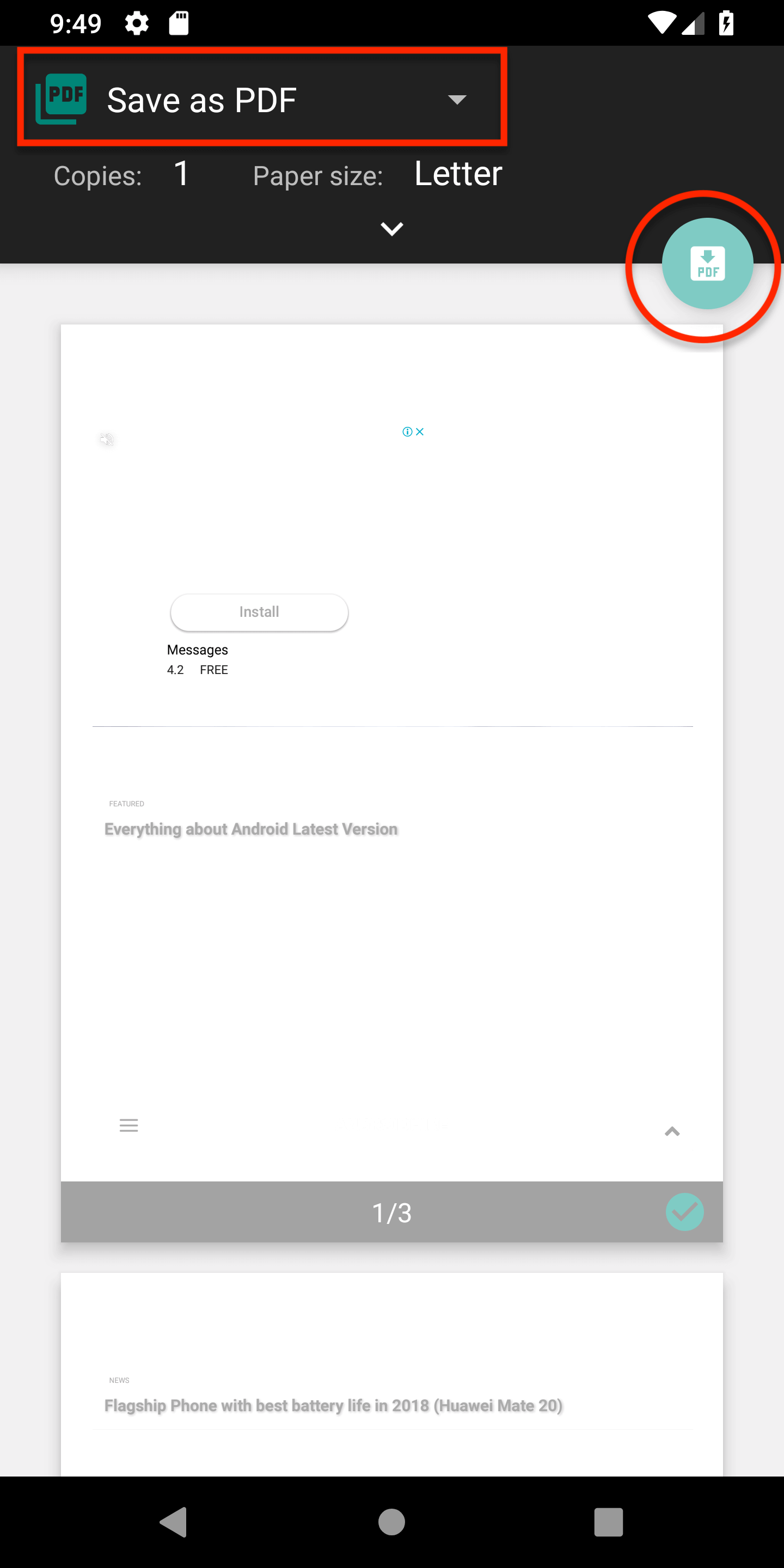 Save Pages as PDF in Android Chrome