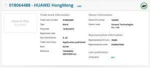 hongmeng OS Trademarked