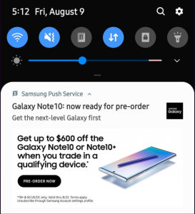 Note 10 ads by push notification