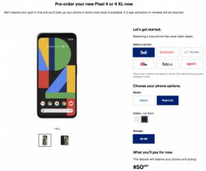 Pixel 4 pre order canada
