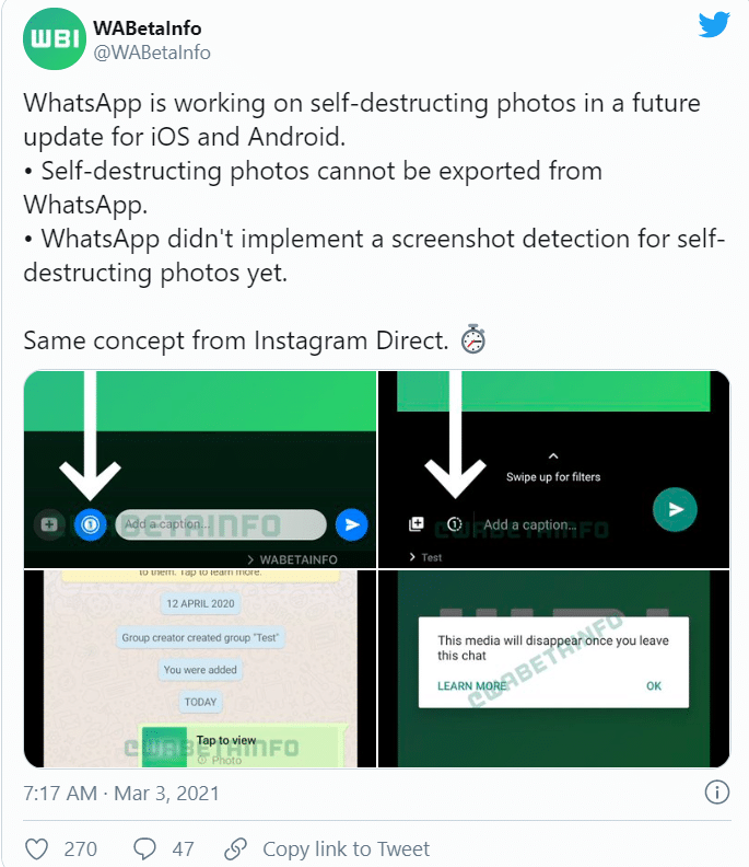 Whatsapp working on the new disappearing images feature 2